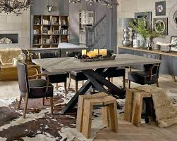 Industrial Style Kitchen Table Dining Room Attractive Brown Grey Black Furniture Inside Round
