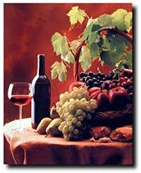 Grape Wall Decor For Kitchen by Amazon Com Fruit Grapes U0026 Apple In Bowl Still Life Kitchen Wall