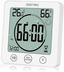 gxstwu digitale badezimmer uhr mit wecker wasserdichte uhren für badezimmer küche timer uhren thermometer hygrometer wanduhr mit saugnapf zum