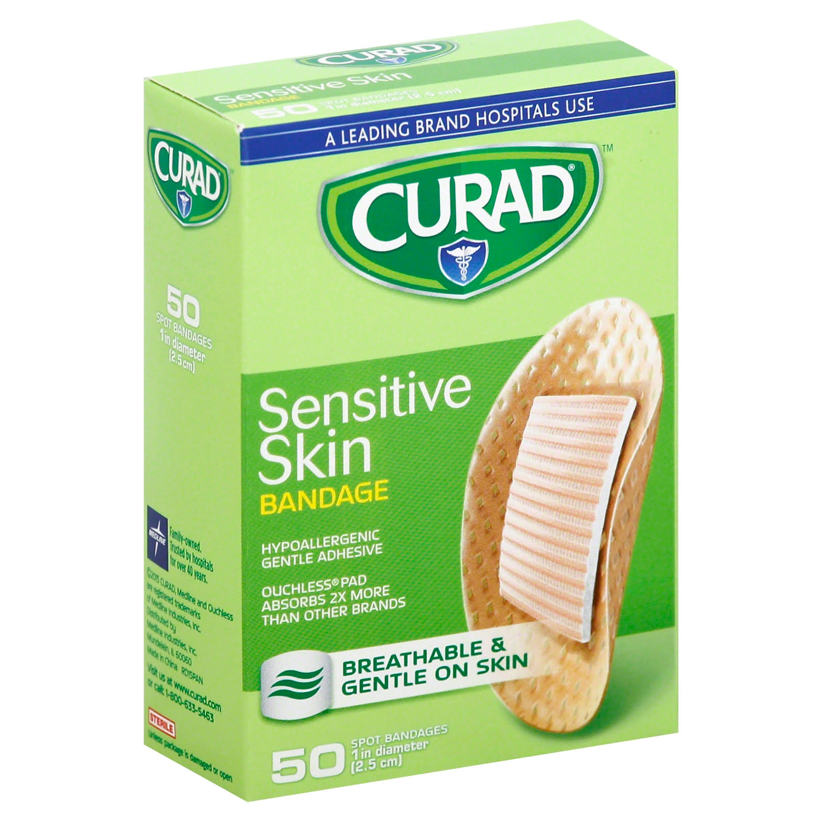 Curad Sensitive Skin Bandages - 50 Bandages, 25mm