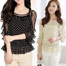 New Fashion Ladies Lace Round Collar Shirt Tee Chiffon Dot Pattern Top Blouse