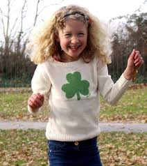 kids irish shamrock knitted sweater cream navy ireland sweaters