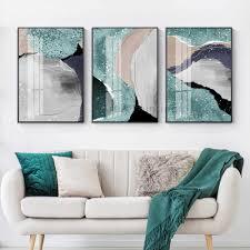 set 3 moderne ölgemälde auf leinwand grün rosa weiß bemalt abstrakten wand kunst bilder für wohnzimmer wand dekoration