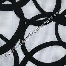 Geometric Pattern Grommet Curtains by Metropolitan Flocked Curtain Drapery Panels In White Black Color