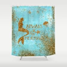 ALWAYS BE A MERMAID Gold Faux Glitter Mermaid Saying Shower