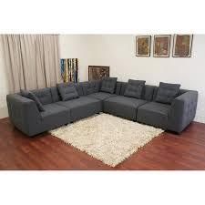 Gray Sectional Sofa Walmart by Baxton Studio Alcoa Gray Twill Sectional Sofa Walmart Com