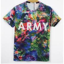 t shirt with multicolor flower print and army front slim fit