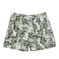 100 Coc Republic O Mens Leafy Hibiscus Board Shorts In Olive