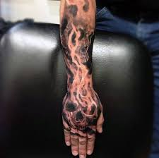 Flaming Skull Guys Tattoo Designs Hand And Forearm Sleeve