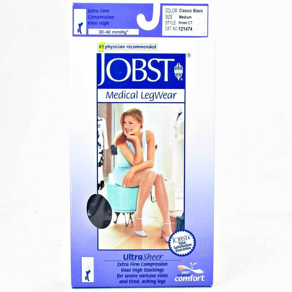 Jobst Ultrasheer 30-40 mmHg Small Black Thigh High Silicone Dot Band