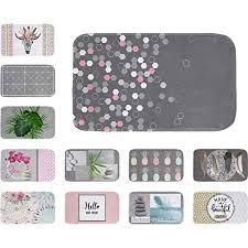 one home badematte badteppich 45x75 cm badvorleger duschvorleger rutschfest digitaldruck farbe geometrisch grau rosa