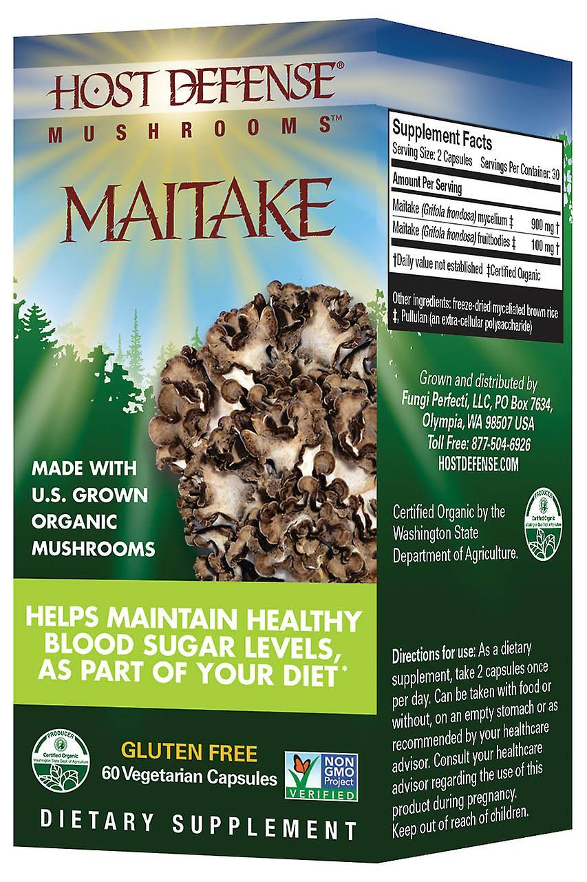 Paul Stamets Host Defense Organic Mushrooms - Maitake, 60 Vegetarian Capsules