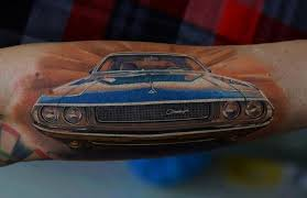 Realistic Blue Car Tattoo On Arm