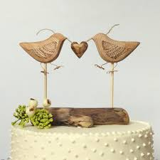 Natural Wood Wedding Cake Topper Love Birds Rustic