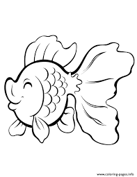 Cute Cartoon Gold Fish Coloring Pages