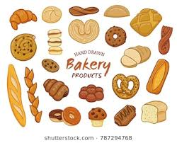 Set Of Various Sorts Bread And Bakery Products Hand Drawn Design Elements Isolated On