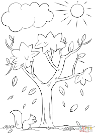 Coloring Page Tree Autumn Within Creativemove Me