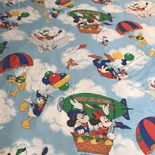 Mickey Mouse Queen Size Bedding by Details About Vtg Mickey Mouse Friends Disney Flat Fitted Sheets