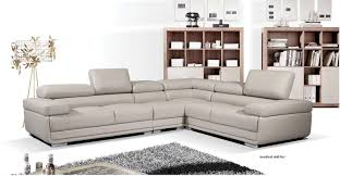 100 Designer Modern Sofa ESF 2119 Chic Grey Leather Sectional Set Contemporary