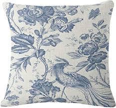 nunubee kissenbezug chinesisches blaues und weißes porzellan stil industrial deko kissen deko wohnzimmer autodekoration sofa cover stil 5 45x45cm