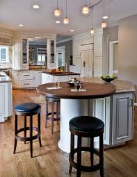 Traditional Kitchen Round Wood Top On Island End Tall Glass Double Sided Cabinetry Through Bar