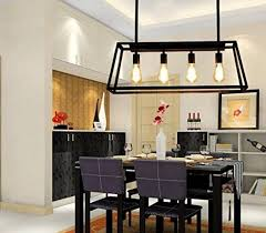 Aiwen Wrought Iron Chandelier Rectangular Trapezoidal Acrylic Pendant Light Ceiling Lamp Black 4 Lights