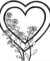 Hearts Coloring Pages Valentines Heart Sheet And Roses Broken Medium Size