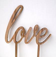 Wedding Cake Topper Luxury Walnut Wood LOVE Simple Rustic Decor DIY