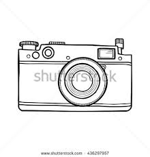 Vector Black And White Illustration With Retro Photo Camera