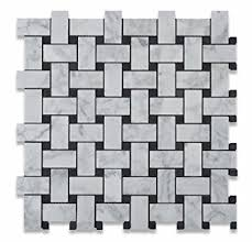 bianco carrara white marble honed basketweave mosaic tile with