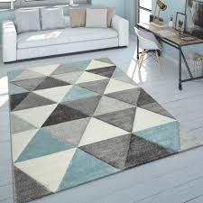 kurzflor teppich wohnzimmer türkis grau pastellfarben rauten dreieck design grösse 160x230 cm