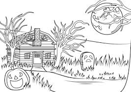 Click To See Printable Version Of Halloween Haunted House Coloring Page
