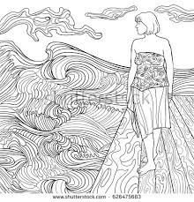 The Girl On Beach Coloring Book For Adults Beautiful Fashion Women Black
