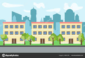 100 Three Story Houses Vector City With Three Threestory Cartoon Houses And Green Trees In