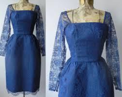 Vintage 1950s Blue Lace Dress Cocktail Wedding