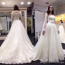Vintage Long Sleeve Lace Wedding Dresses 2016 A Line Tulle Bridal Gowns Appliqued Elegant Crystal Beaded Sash Custom Made Vestidos Novia