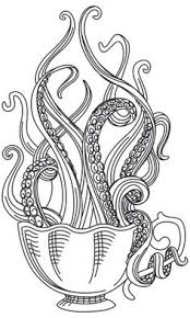 Tentacles Peer Over The Edge Of A Delicately Engraved Tea Cup Stitch Onto Towels