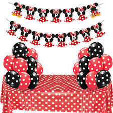 Amazoncom JOYMEMO Minnie Mouse Party Supplies Red And Black For