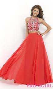 beaded two piece blush prom gown