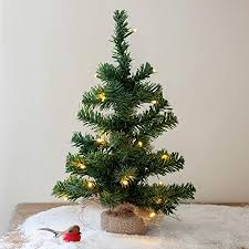 40cm Pre Lit Battery Operated Mini Christmas Tree By Lights4fun