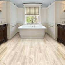 Rustic Style And Large Bathtub With Double Sinks Plus White Painted Oak Cabinet Wall Built In False Brick Vinyl Wood Flooring Planks
