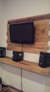 Pallet Wall Mounted Tv Holder With A Shelfdvd Player Storage For Floating Shelf