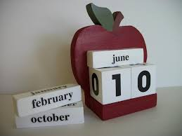 Apple Calendar Perpetual Wood Block Red Decor Teacher Gift 950 Via Etsy