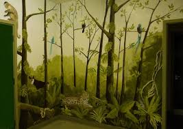 Beautiful Jungle Tree Nursery Wall Murals Art For Kids Bedroom Decorating Ideas
