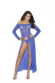 elegant moments royal blue lace long sleeve over the shoulder
