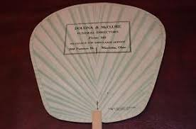 ANTIQUE ADVERTISING PAPER FAN Doudna & McClure Funeral Home