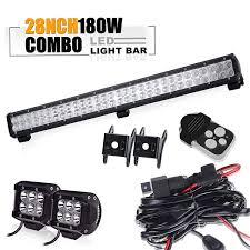TURBOSII DOT 28 Inch 12V 24V Spot Flood Led Light Bar + 4