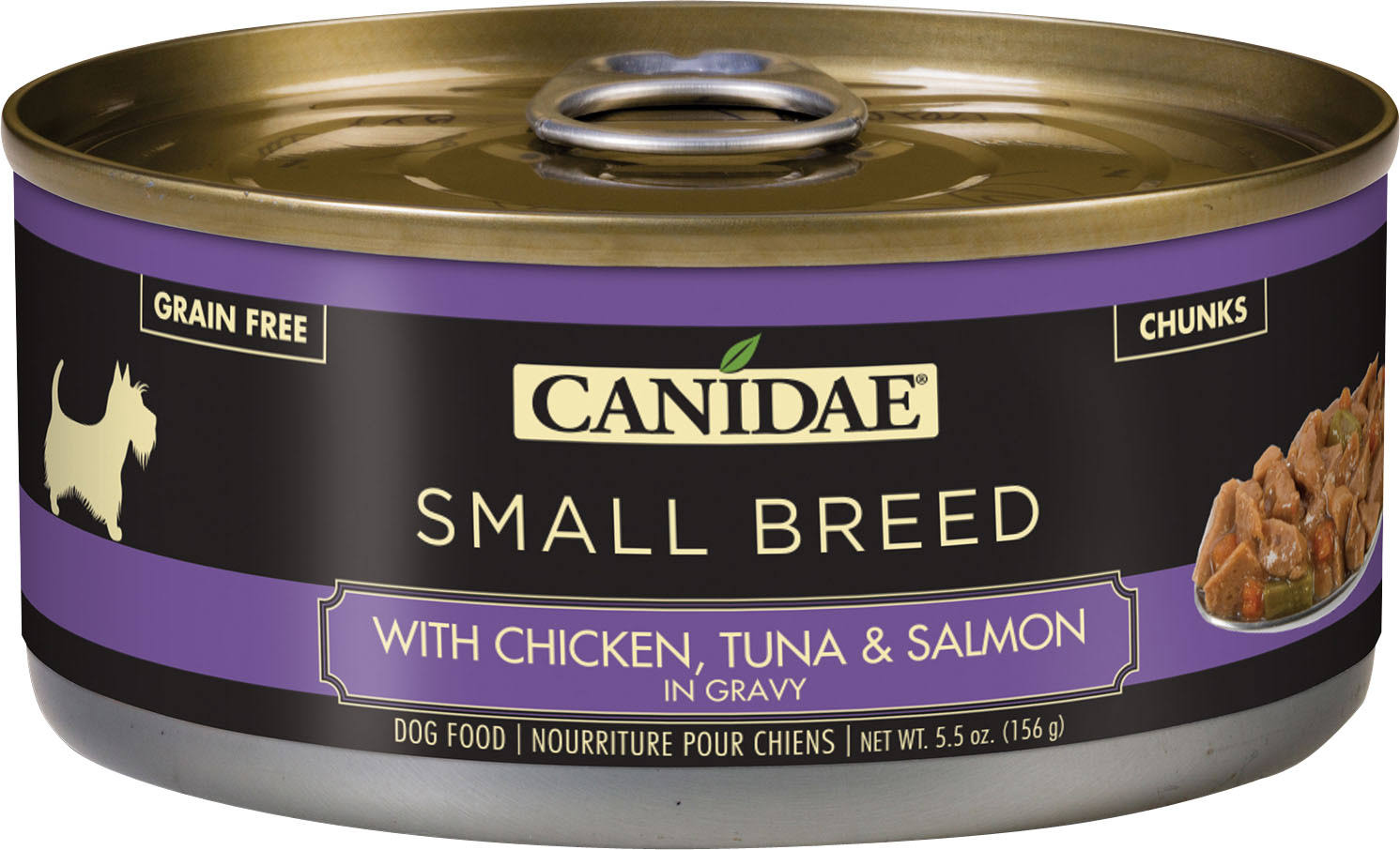 Canidae Pure Small Breed Stew Wet Dog Food - Natural, Grain Free Size: 5.5 oz, copper/green/gum, Chicken, Tuna & Salmon, Adult