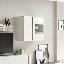 details zu hängevitrine 20 clair vitrine hängeschrank wohnzimmer in weiß glanz und eiche