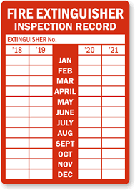 Annual Monthly Fire Extinguisher Inspection Record Label 2018 2021